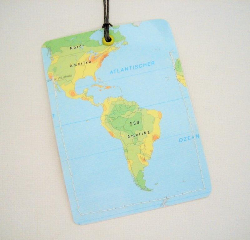 - Kofferanhänger SÜDAMERIKA ♥ Brasilien Landkarte *upcycling*  - Kofferanhänger SÜDAMERIKA ♥ Brasilien Landkarte *upcycling*