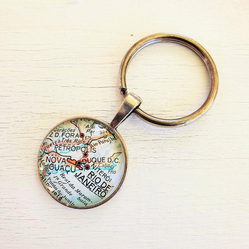 - Schlüsselanhänger RIO de JANEIRO ♥ silberfarben *Landkarte* Accessoire - Schlüsselanhänger RIO de JANEIRO ♥ silberfarben *Landkarte* Accessoire