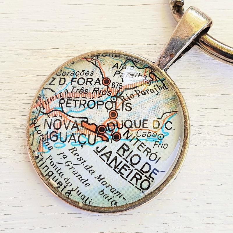 Kleinesbild - Schlüsselanhänger RIO de JANEIRO ♥ silberfarben *Landkarte* Accessoire