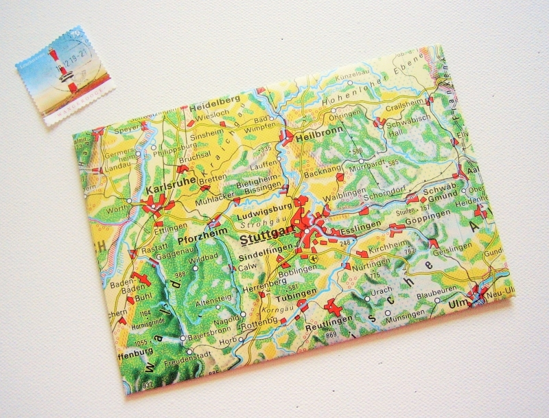 - STUTTGART ♥ toller Briefumschlag Landkarte *upcycling pur* - STUTTGART ♥ toller Briefumschlag Landkarte *upcycling pur*