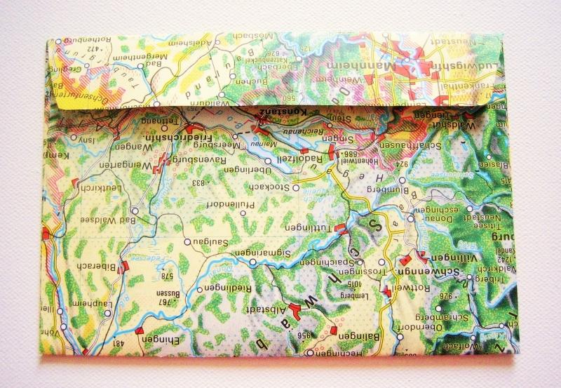 Kleinesbild - STUTTGART ♥ toller Briefumschlag Landkarte *upcycling pur*