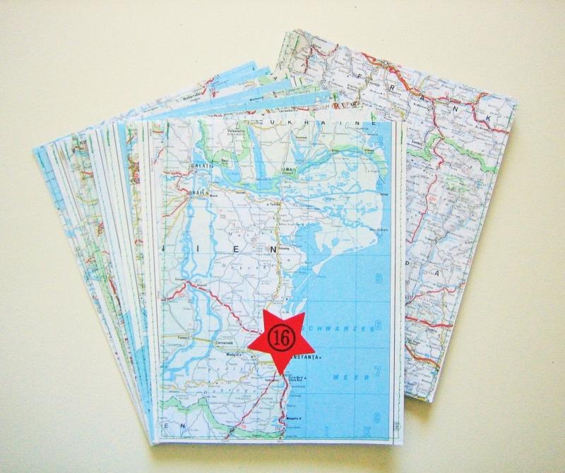 - Adventskalender Landkarte ♥ 24 PAPIERTÜTEN *upcycling pur* Weihnachten - Adventskalender Landkarte ♥ 24 PAPIERTÜTEN *upcycling pur* Weihnachten