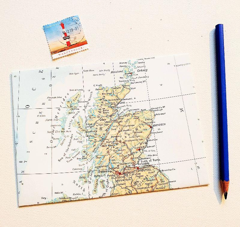 - SCHOTTLAND Edinburgh ♥ toller Briefumschlag Landkarte *upcycling* - SCHOTTLAND Edinburgh ♥ toller Briefumschlag Landkarte *upcycling*