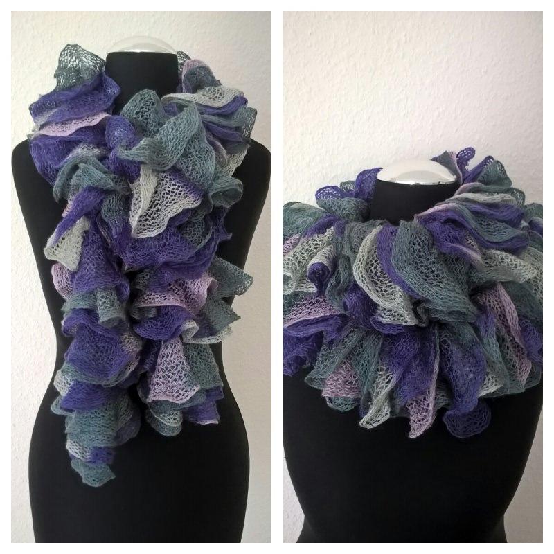- Rüschenschal handgestrickt in den Farben Lavendel-Rosa-Grau, Länge 160 cm - Rüschenschal handgestrickt in den Farben Lavendel-Rosa-Grau, Länge 160 cm