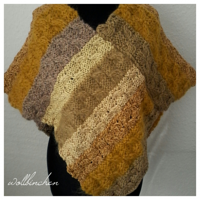 - Schulterschal--Poncho--Wolle/Mohair Mix--Handgestrickt - Schulterschal--Poncho--Wolle/Mohair Mix--Handgestrickt