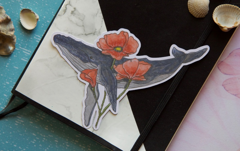- Glossy Sticker - Buckelwal mit Mohnblume - Laptop Aufkleber - Glossy Sticker - Buckelwal mit Mohnblume - Laptop Aufkleber