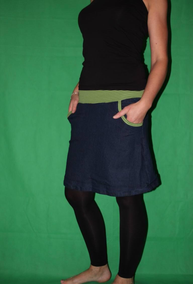 Kleinesbild - Jeansrock, Stretch Rock, Jeans Rock, blauer Rock, midi Gr. 36 - 44
