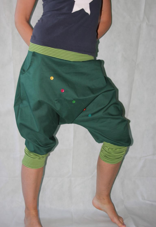 Kleinesbild - Pumphose Knickerbocker gestreifte Stulpen grüne Haremshose pants