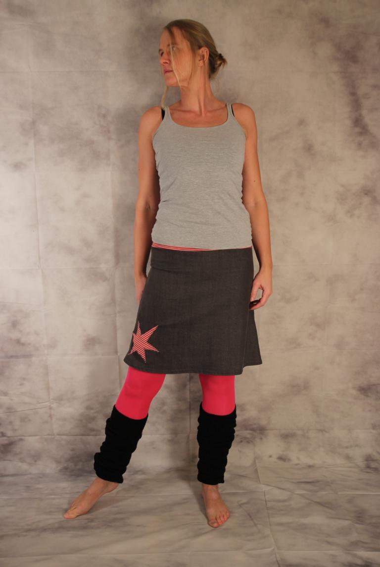 Kleinesbild - Jeansrock, A-Form, Rock, Jeans Rock, Stern, knielanger Rock, Stretch Rock Gr. 36 - 44
