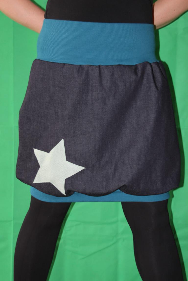 Kleinesbild - Ballonrock Ballon-Rock, Jeansrock Stern, Stretch Rock, blauer knielanger Rock Gr. 36 - 44