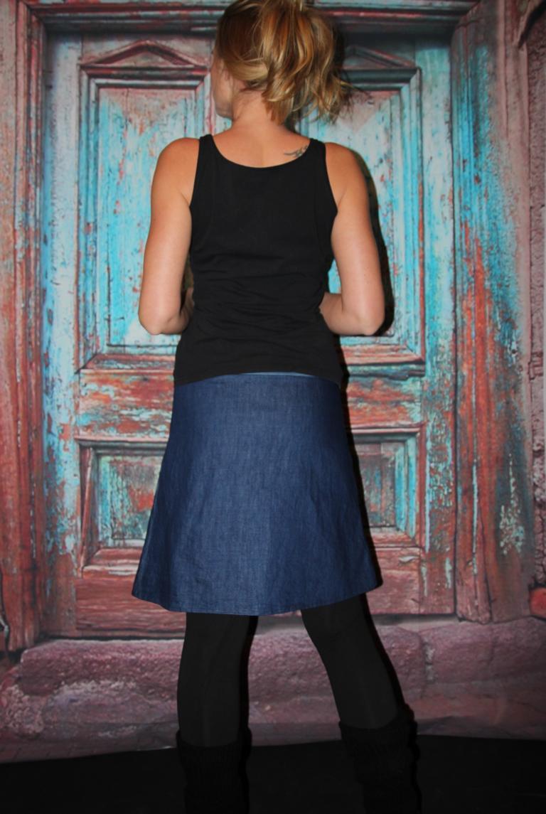 Kleinesbild - Jeansrock, Anker, Jeans Rock, blau knielanger Rock, midi Gr. 36 - 44