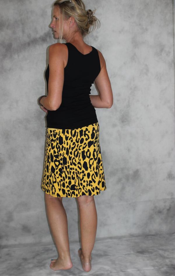 Kleinesbild - Jersey Rock gelb gefleckter Leo Muster Stretch Rock A- Form mini Jersey gelb/schwarz