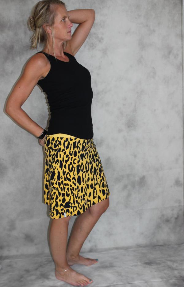 - Jersey Rock gelb gefleckter Leo Muster Stretch Rock A- Form mini Jersey gelb/schwarz - Jersey Rock gelb gefleckter Leo Muster Stretch Rock A- Form mini Jersey gelb/schwarz