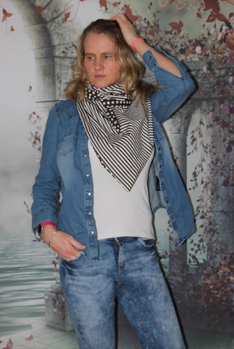 Kleinesbild - XXL Wende Schal Dreieckstuch Tuch Punkte Streifen braun weiß Bindetuch