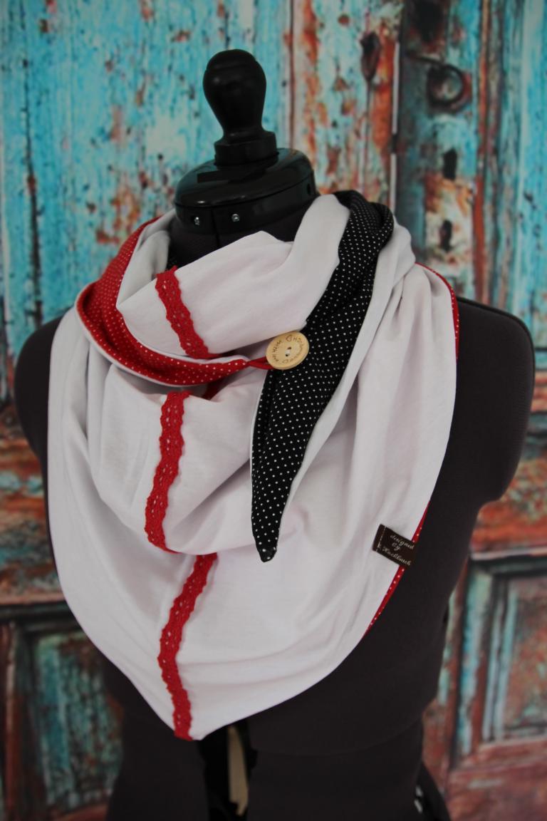 Kleinesbild - XL Wende Schal Dreieckstuch + Stirnband Tuch Punkte  schwarz weiß gepunktet Bindetuch