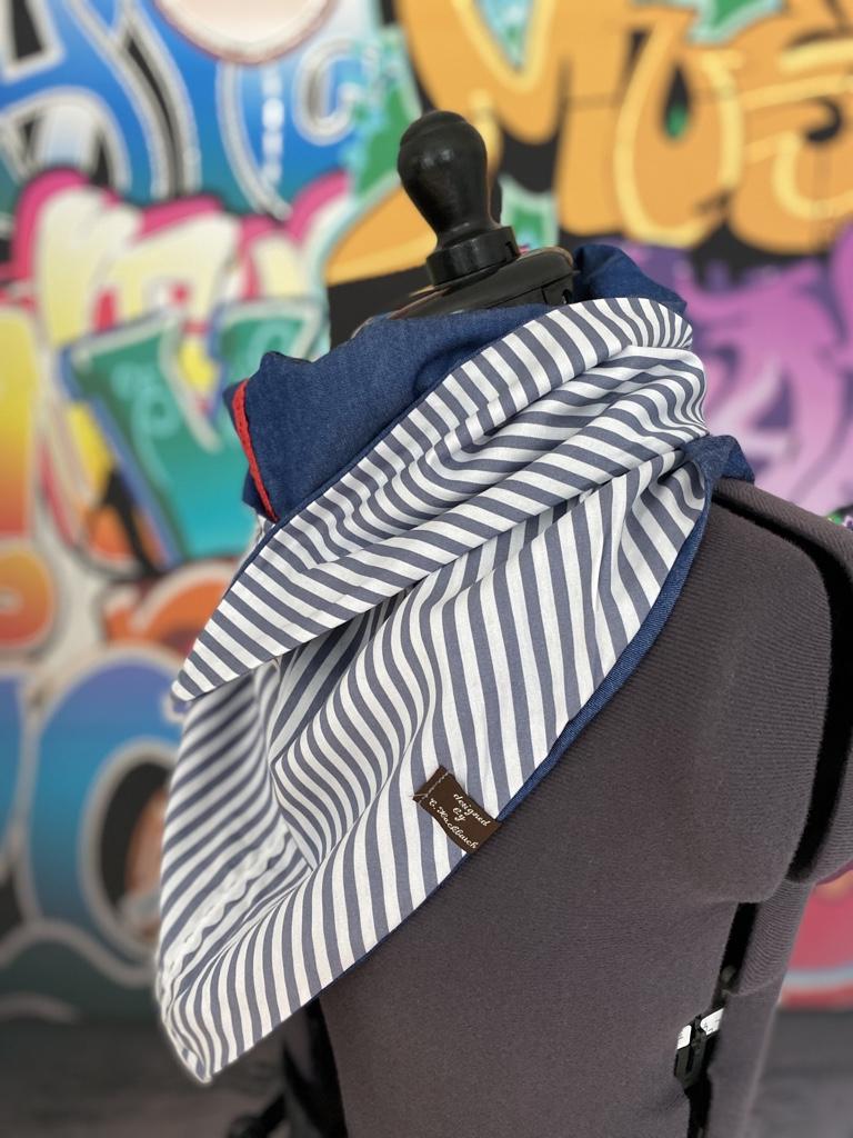 Kleinesbild - XL Wende Schal Dreieckstuch Jeans Tuch Streifen blau grau weiß Bindetuch