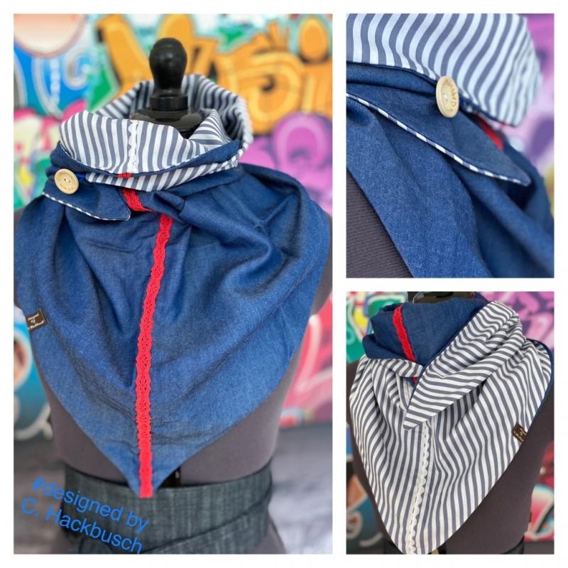 - XL Wende Schal Dreieckstuch Jeans Tuch Streifen blau grau weiß Bindetuch - XL Wende Schal Dreieckstuch Jeans Tuch Streifen blau grau weiß Bindetuch