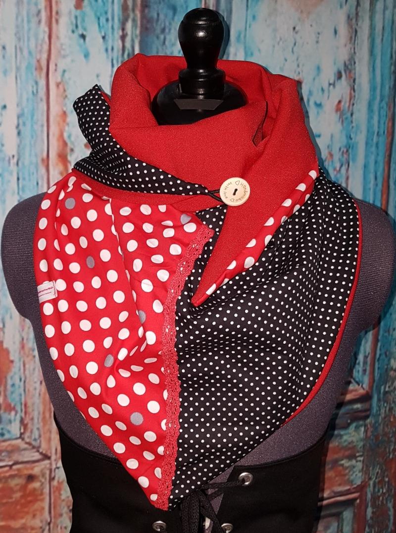 Kleinesbild - XL Wende Schal Dreieckstuch Tuch Punkte rot weiß