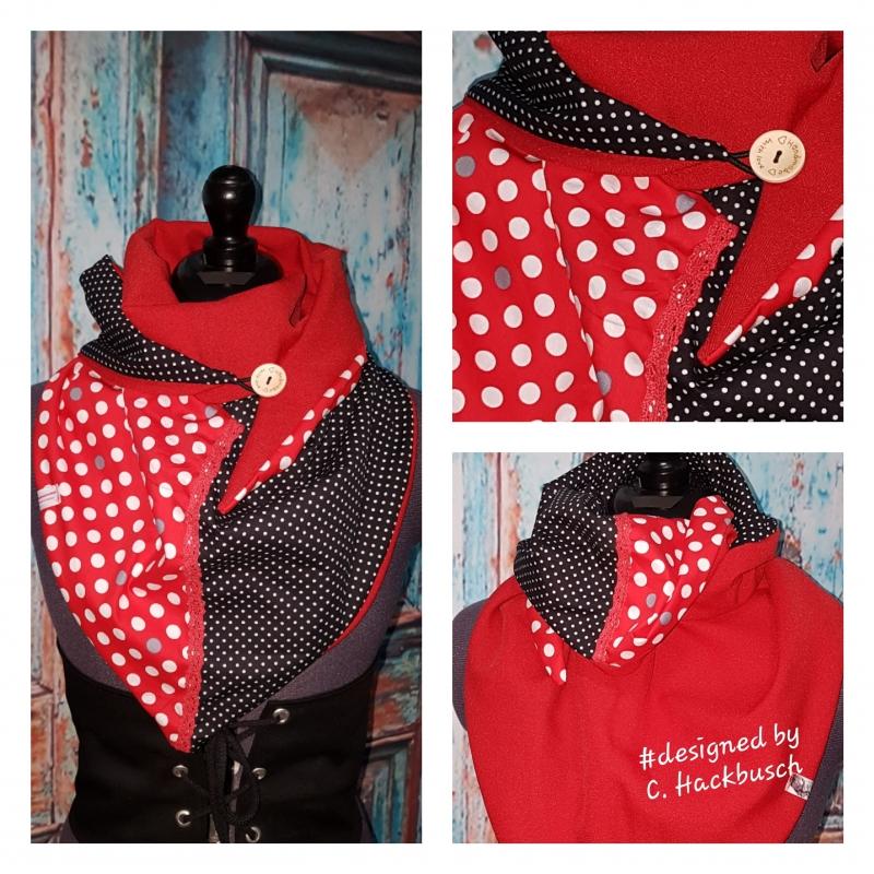 - XL Wende Schal Dreieckstuch Tuch Punkte rot weiß - XL Wende Schal Dreieckstuch Tuch Punkte rot weiß