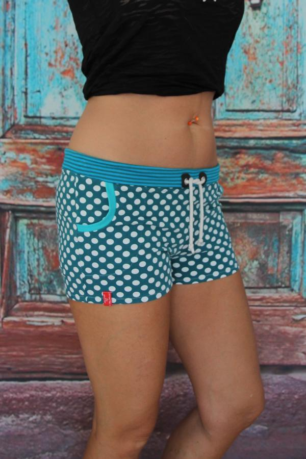Kleinesbild - Hotpants türkis Punkte Hot Pants Stretch Shorts mini Jersey Shorty kurze Hose Damen