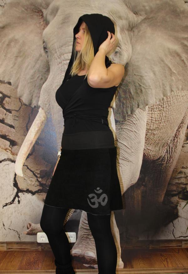 - schwarzer Goa Rock Hippie A-Form Rock midi OM schwarz Gr. 36 - 44   - schwarzer Goa Rock Hippie A-Form Rock midi OM schwarz Gr. 36 - 44
