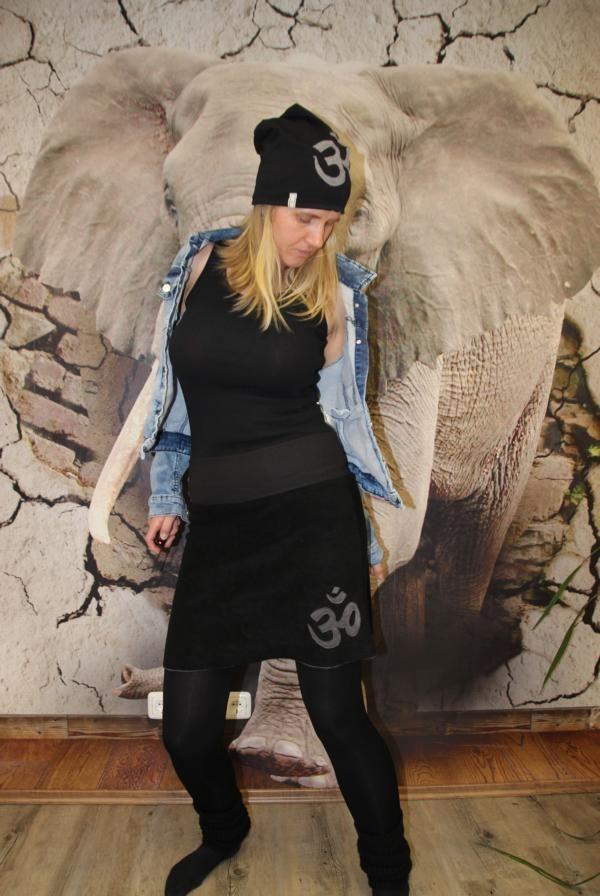 Kleinesbild - schwarzer Goa Rock Hippie A-Form Rock midi OM schwarz Gr. 36 - 44