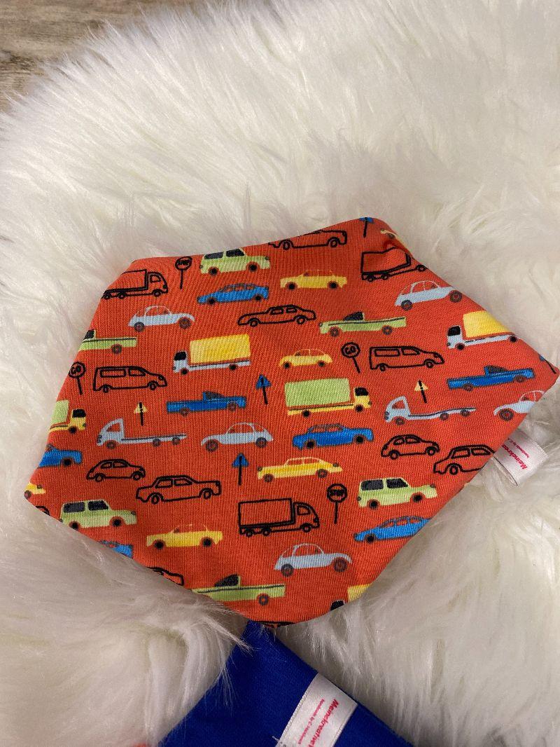 Kleinesbild - Baby Set orange Pumphose Autos Mütze Tuch