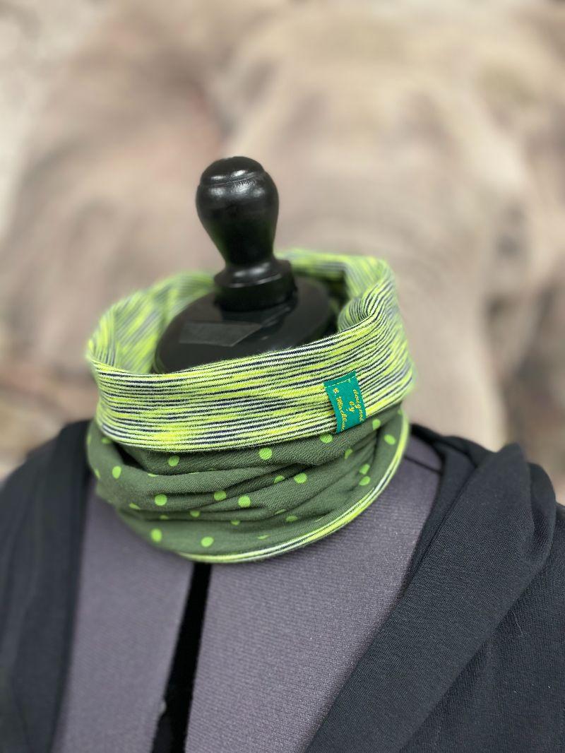 Kleinesbild - Loop Loopschal Schal Schlauchschal Wendeloop grün gestreift Punkte