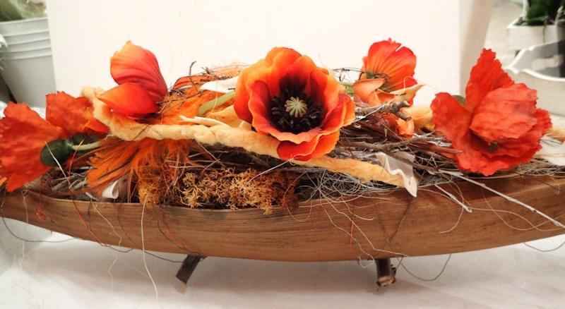 Kleinesbild - TISCHDEKORATION schönes, haltbares dekoratives Gesteck TISCHDEKO Deko Herbst Herbstdeko MOHN orange