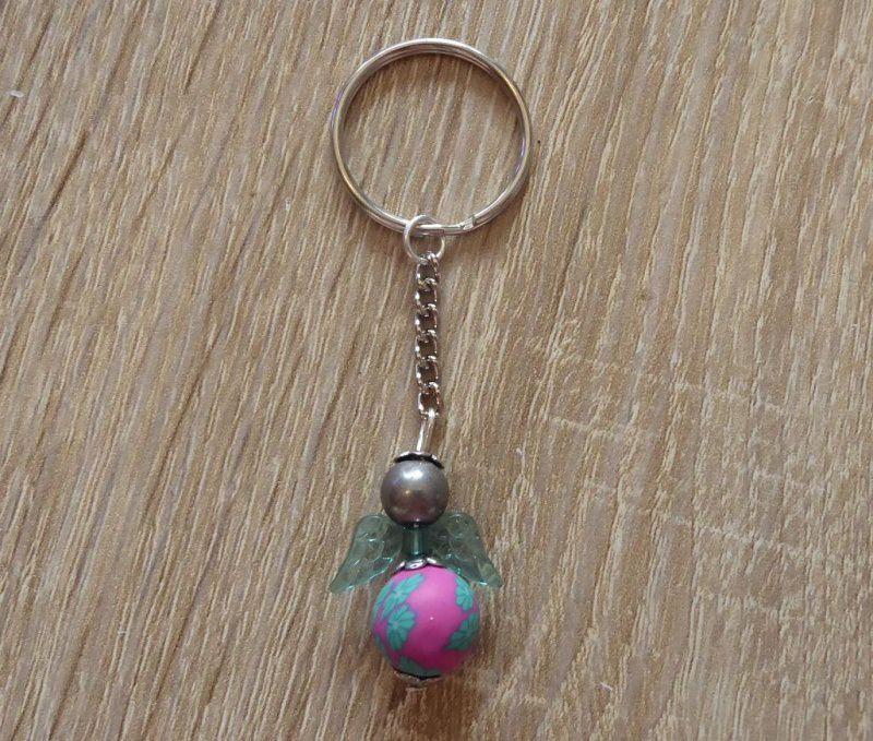 - Handgefertigter Schlüsselanhänger mit Acrylflügeln - Engel  - pink, türkis, grau - Handgefertigter Schlüsselanhänger mit Acrylflügeln - Engel  - pink, türkis, grau