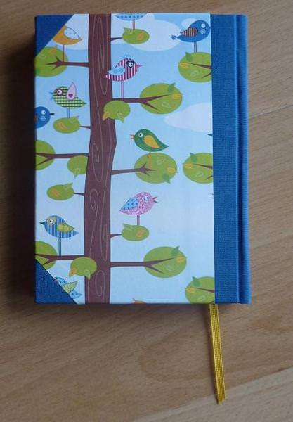 Kleinesbild - Handgebundenes Notizbuch mit Vogelmotiv - blau