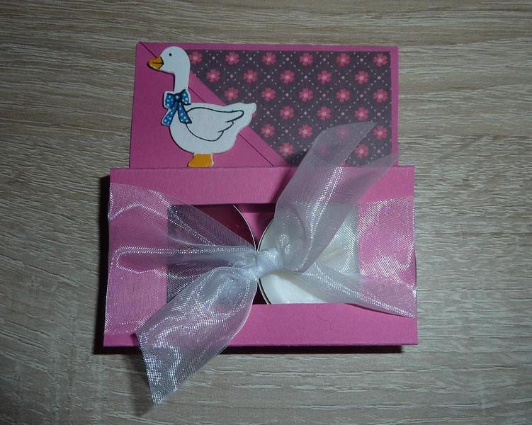 - Teelichtgeschenkset mit zwei Teelichtern - pink-weiß - Teelichtgeschenkset mit zwei Teelichtern - pink-weiß