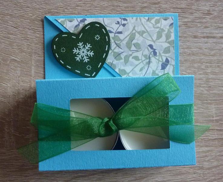 - Teelichtgeschenkset mit zwei Teelichtern - türkis-grün - Teelichtgeschenkset mit zwei Teelichtern - türkis-grün