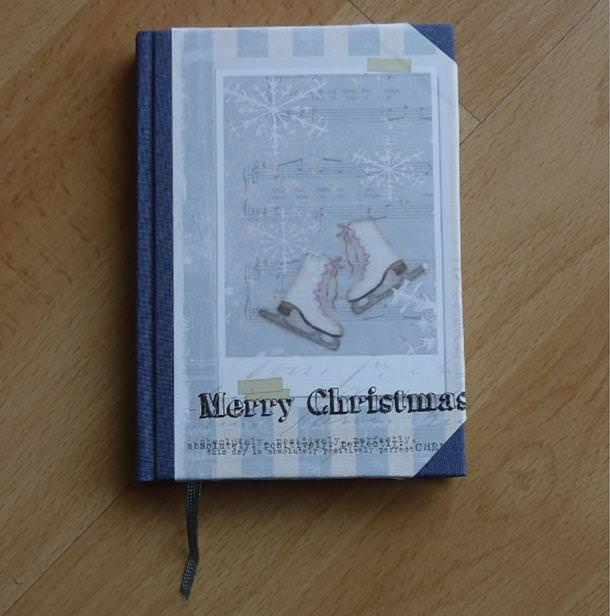- Handgebundenes Notizbuch - Weihnachtsmotiv - Schlittschuhe - Handgebundenes Notizbuch - Weihnachtsmotiv - Schlittschuhe