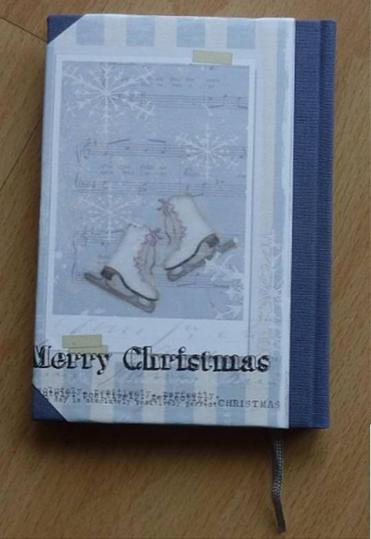 Kleinesbild - Handgebundenes Notizbuch - Weihnachtsmotiv - Schlittschuhe