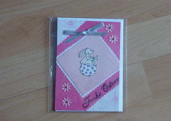 - handgefertigte Ostergrußkarte mit Hasenmotiv rosa-pink - handgefertigte Ostergrußkarte mit Hasenmotiv rosa-pink