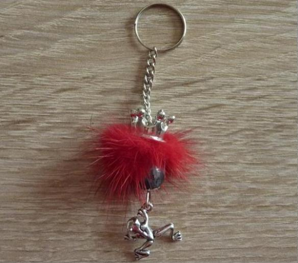 Kleinesbild - Schlüsselanhänger/Taschenanhänger Froschkönig silber-rot-grau