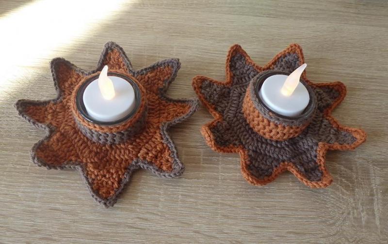 Wohnen Zwei Umhäkelte Teelichthalter Mit Led Teelicht Stern Braun