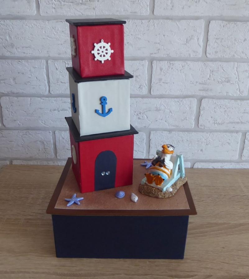 - Handgefertigte Geschenkverpackung / Schachtel aus Pappe, Papier und Buchleinen - Leuchtturm - Strandurlaub - Handgefertigte Geschenkverpackung / Schachtel aus Pappe, Papier und Buchleinen - Leuchtturm - Strandurlaub