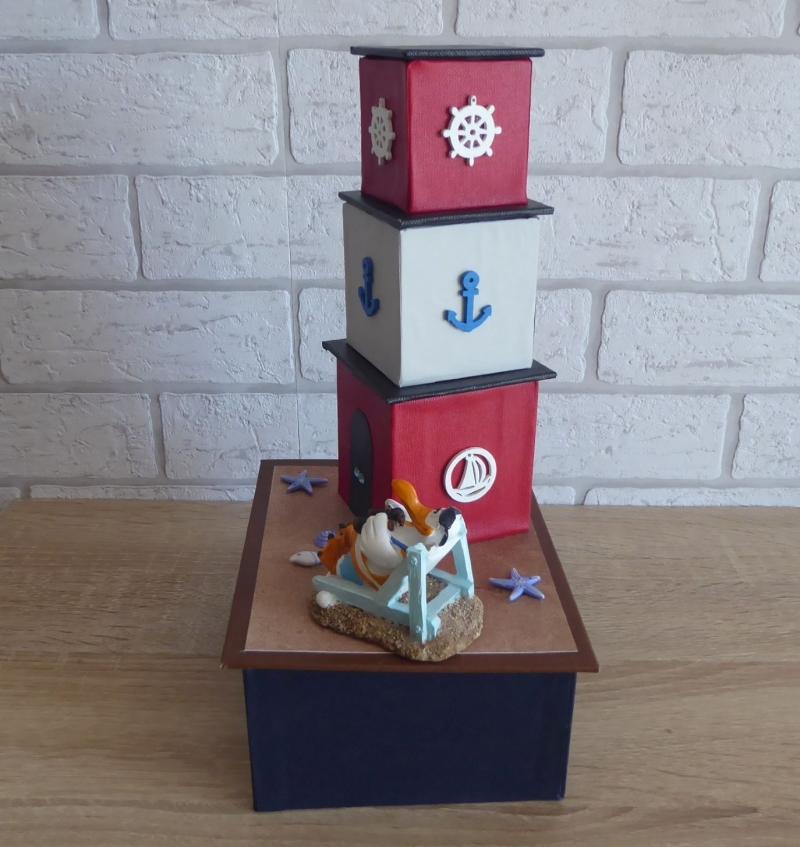 Kleinesbild - Handgefertigte Geschenkverpackung / Schachtel aus Pappe, Papier und Buchleinen - Leuchtturm - Strandurlaub