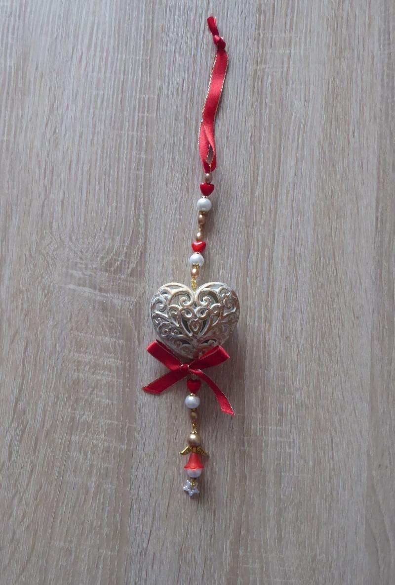 Kleinesbild - Wand-/Türdeko mit Herz und Engelchen - rot-gold-weiß