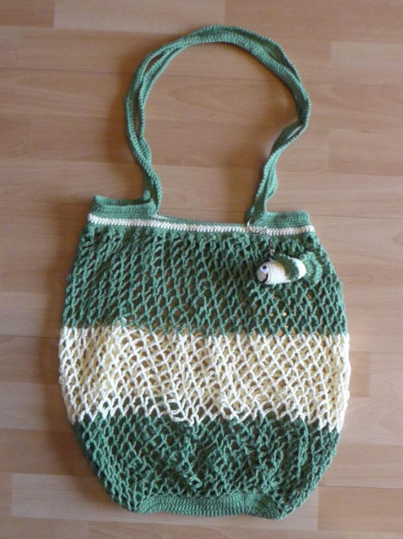 - Handgehäkeltes Einkaufsnetz/Einkaufstasche mit Taschenbaumler Fisch (gelb-grün) - Handgehäkeltes Einkaufsnetz/Einkaufstasche mit Taschenbaumler Fisch (gelb-grün)