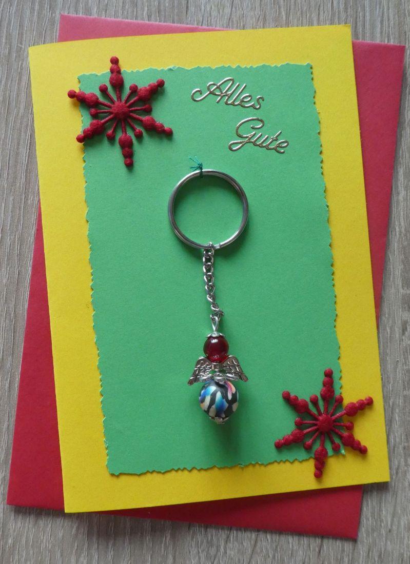 - Schlüsselanhänger Engel inkl. Grußkarte und Briefumschlag (bunt) - Schlüsselanhänger Engel inkl. Grußkarte und Briefumschlag (bunt)