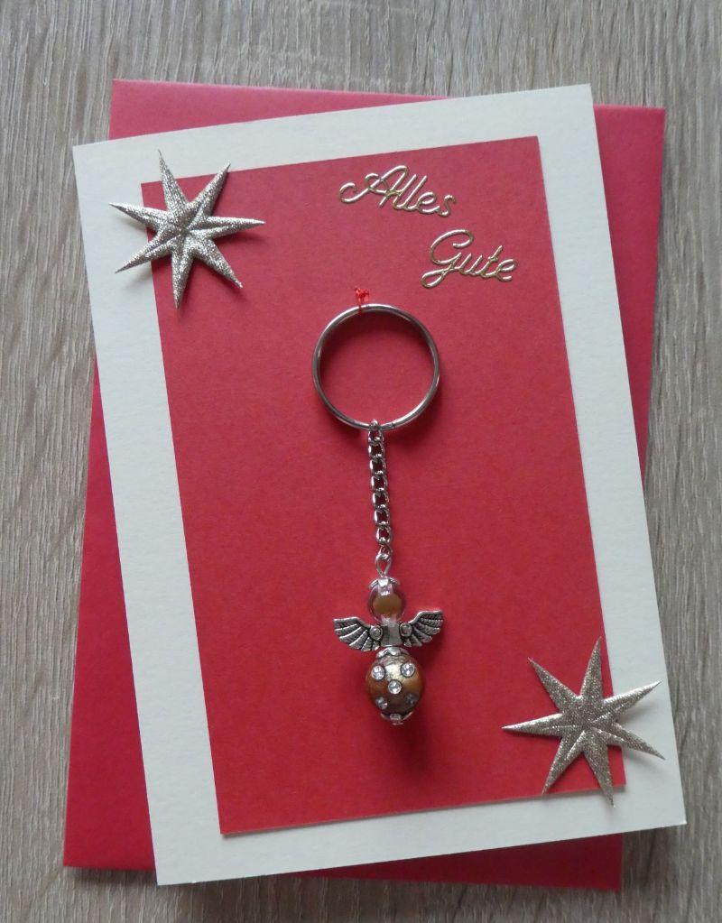 - Schlüsselanhänger Engel inkl. Grußkarte und Briefumschlag (rot-gold-beige) - Schlüsselanhänger Engel inkl. Grußkarte und Briefumschlag (rot-gold-beige)