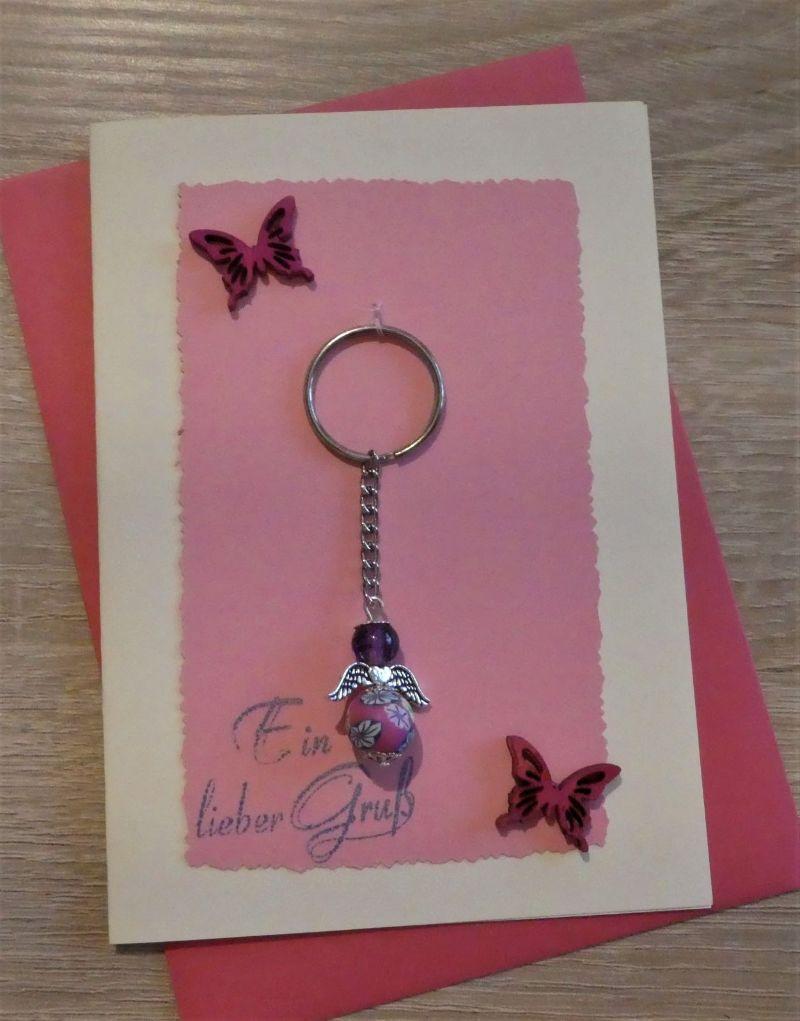 - Schlüsselanhänger Engel inkl. Grußkarte und Briefumschlag rosa/pink/cremeweiß) - Schlüsselanhänger Engel inkl. Grußkarte und Briefumschlag rosa/pink/cremeweiß)