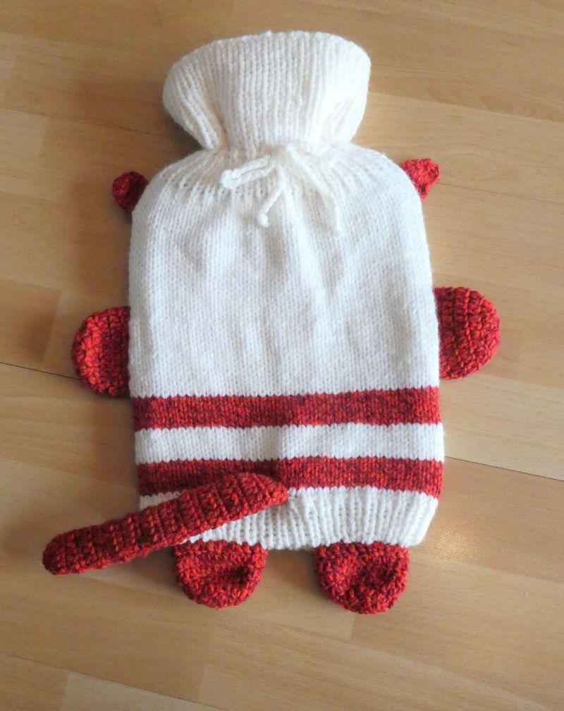 Kleinesbild - Gestrickter Wärmflaschenbezug - Katze - wollweiß-rot