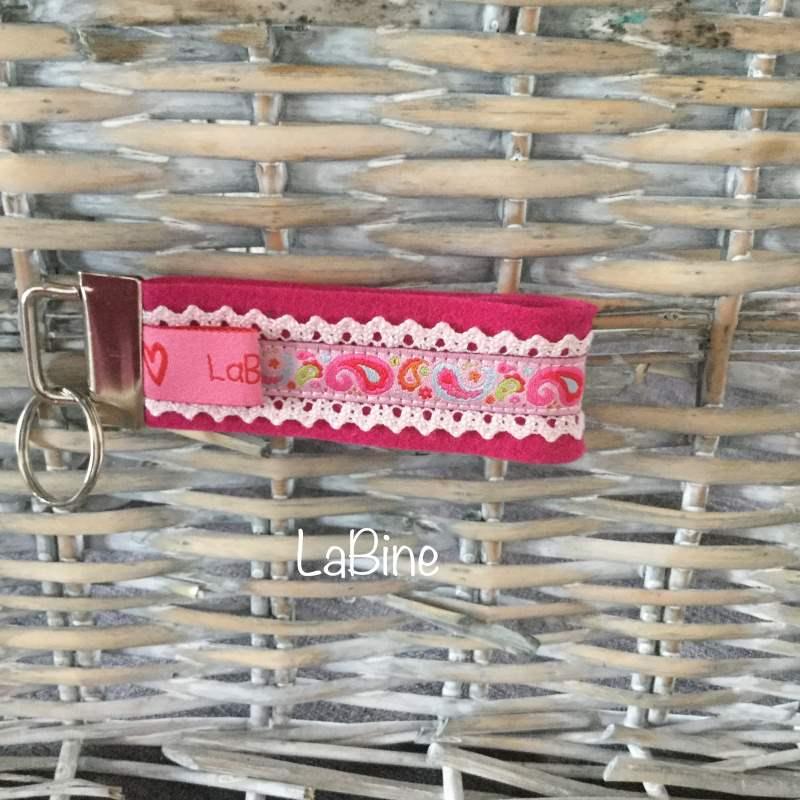 - Schlüsselanhänger Schlüsselband Filz Paisley pink - Schlüsselanhänger Schlüsselband Filz Paisley pink