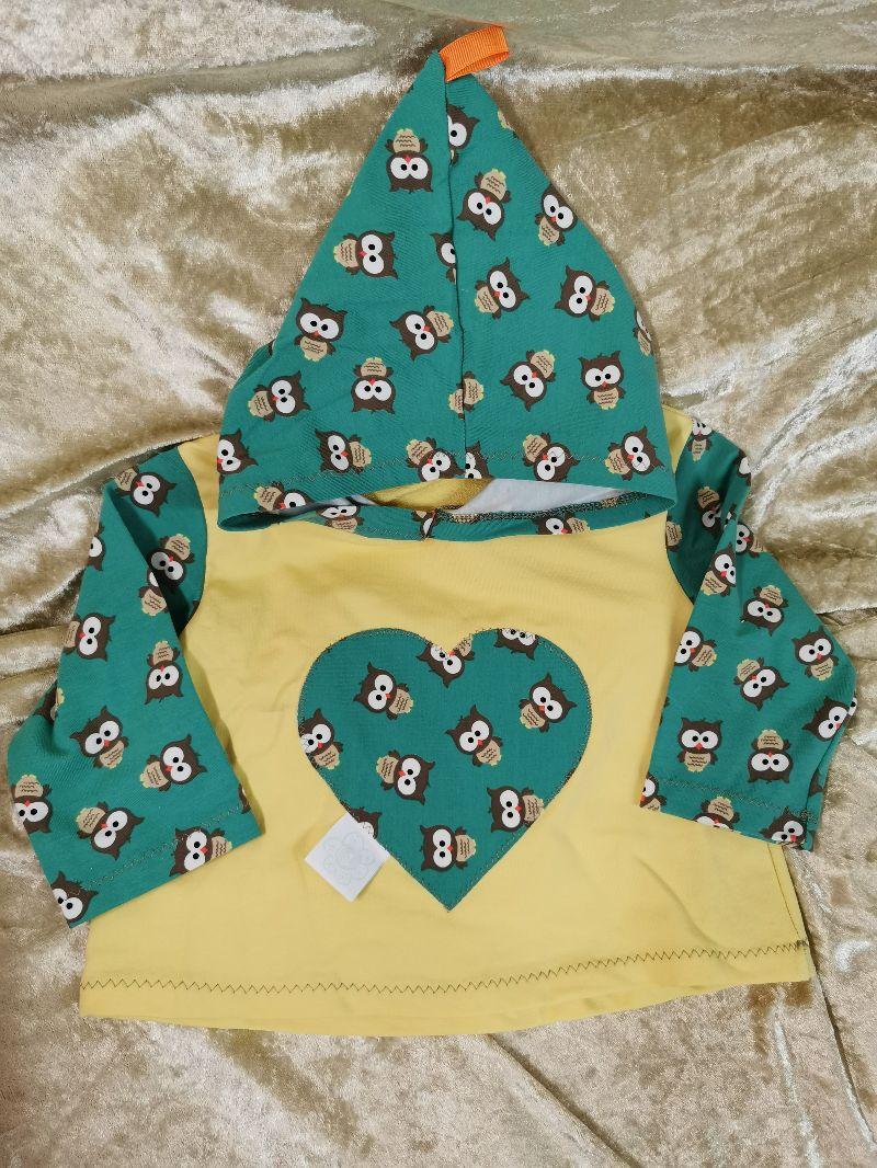- Langarmshirt mit Zipfelmütze ´Eulen` Gr. 74/80 - Langarmshirt mit Zipfelmütze ´Eulen` Gr. 74/80