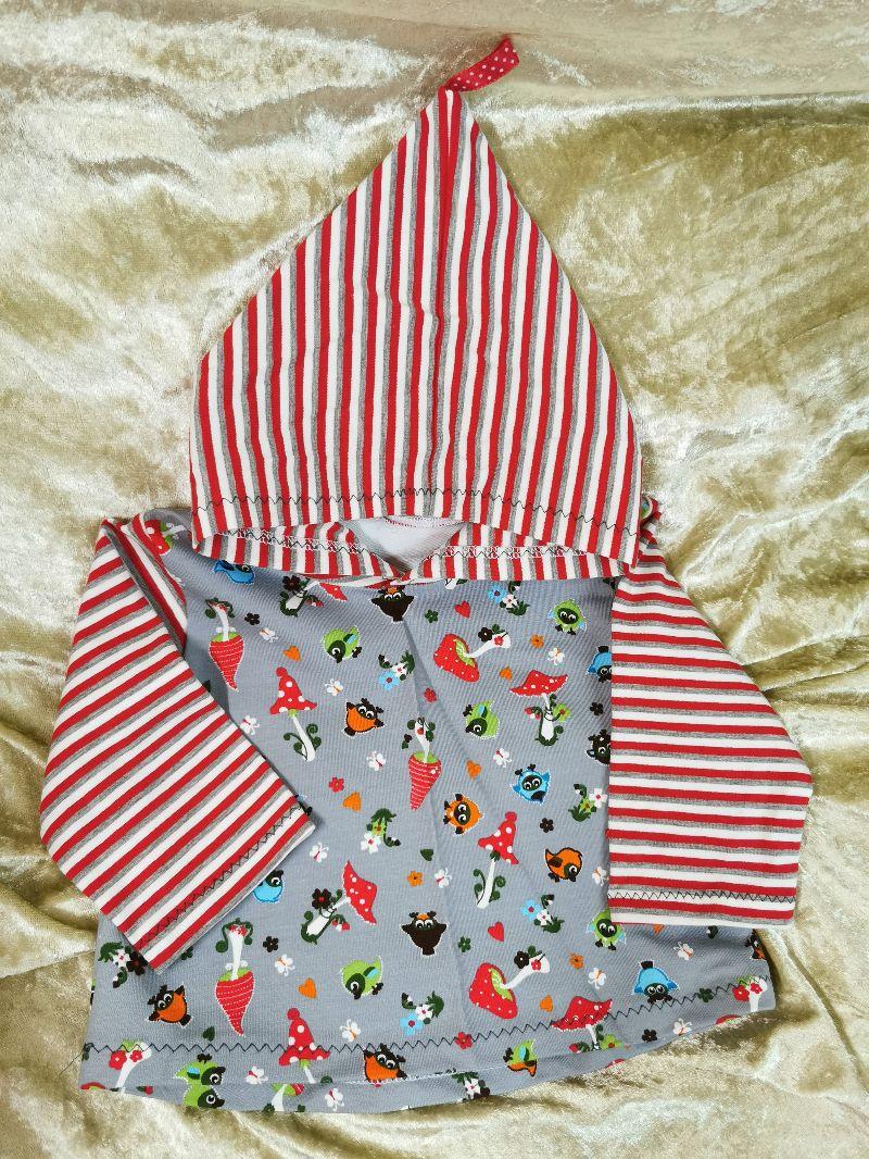 - Langarmshirt mit Zipfelmütze ´Vögel & Pilze` Gr. 62/68 - Langarmshirt mit Zipfelmütze ´Vögel & Pilze` Gr. 62/68