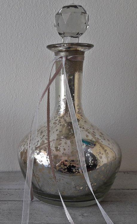 - Dekorative Glasflasche Bauernsilber Vintage Shabby - Dekorative Glasflasche Bauernsilber Vintage Shabby